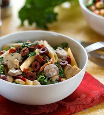 Pasta with Greens and Beans in Creamy Cashew Sauce