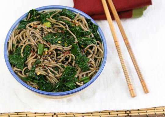 Simple sesame ginger soba with kale