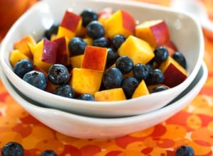 Nectarines and blueberries detail