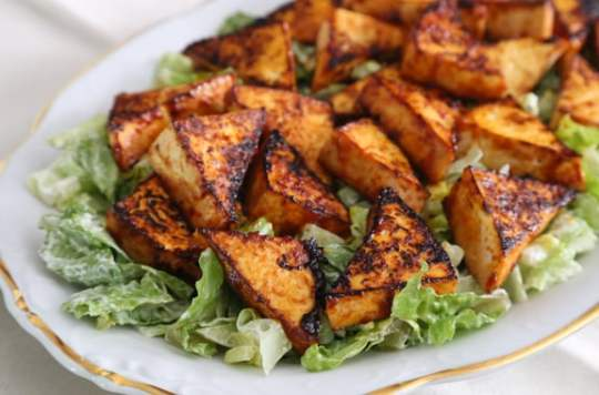 Spicy Tofu Triangles on a Cool Bed of Lettuce
