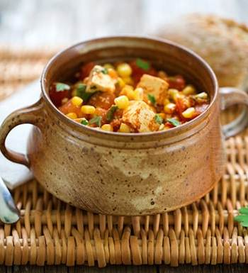 Stewed tofu with fresh corn and tomatoes