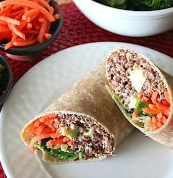 Asian flavored quinoa wraps