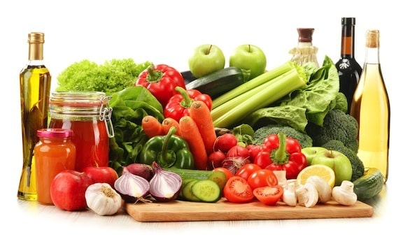 Vegetables, fruits, and other healthy foods