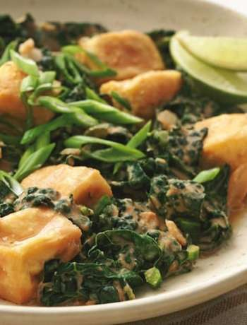 Spicy Thai Braised Kale And Tofu recipe from Eat to live cookbook by Joel Fuhrman
