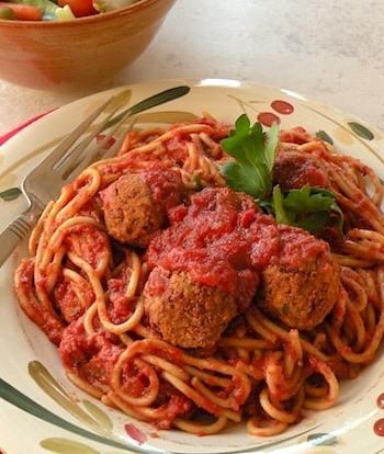 Vegan beanballs and spaghetti