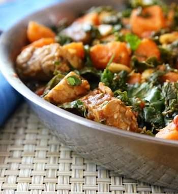 Tempeh, kale, and sweet potato skillet