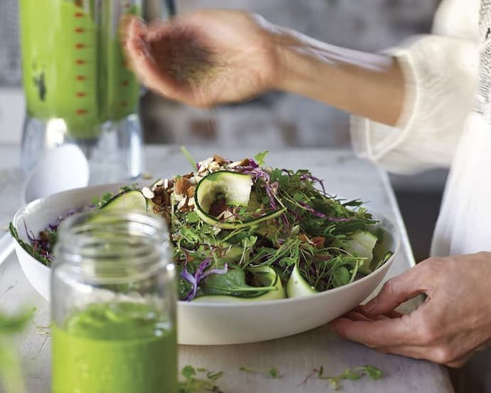 green queen salad and dressing from Tess Masters' Blender Girl
