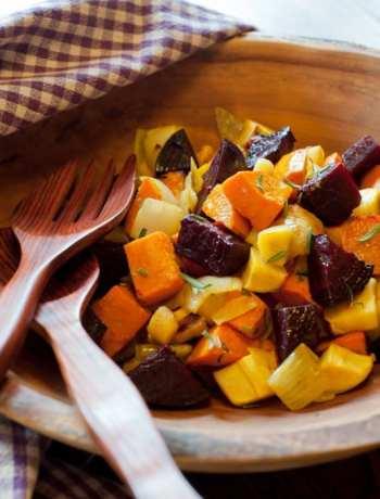 Garlicky Roasted Root Vegetables from Leslie Cerier