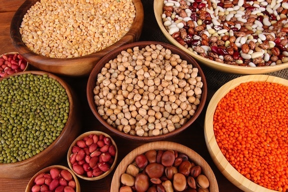 Beans, lentils, and nuts in bowls