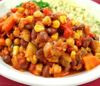 Quick Vegan Mixed Beans Chili