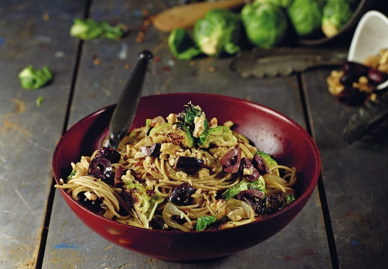 Olive Angel Hair With Seared Brussels Sprouts by Isa Moskowitz