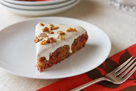 pastel vegano de arándano y zanahoria
