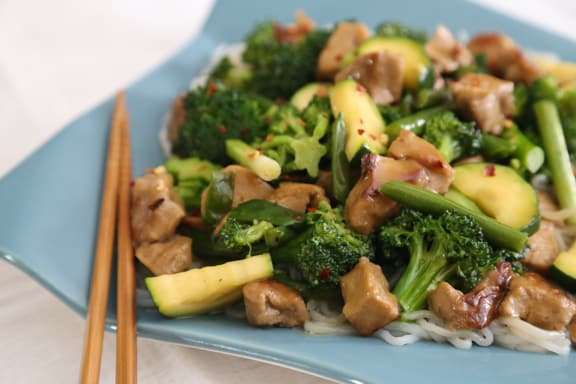 Triple Jade Stir-Fry (with broccoli, green beans, and zucchini)
