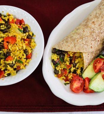 Yellow rice and black bean burritos