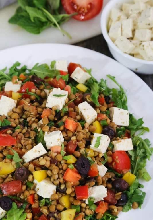 "Greek Flavored Lentil Salad with Tofu ""Feta"" recipe"