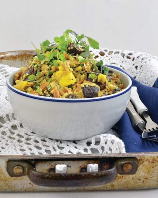 Roasted Zucchini and Mushroom Pilaf Bowl recipe