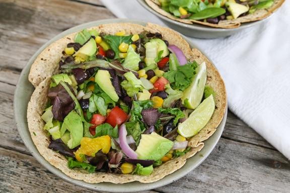 Southwestern salad in tortilla bowl