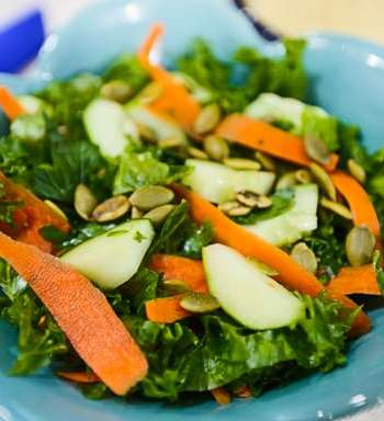 Kale and Cucumber Salad with Avocado-Tahini Dressing