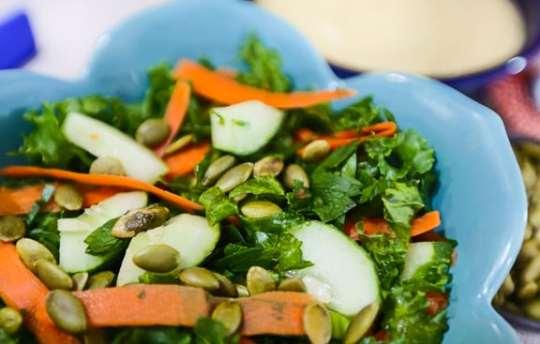 Raw Kale and Cucumber Salad with Avocado-Tahini Dressing