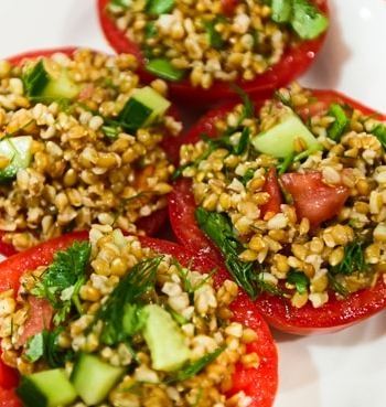Einkorn Stuffed Tomato salad recipe