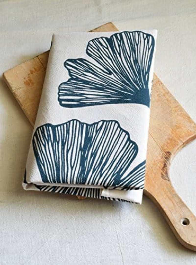 ginko leaf flour sack tea towel handmade kitchen gifts