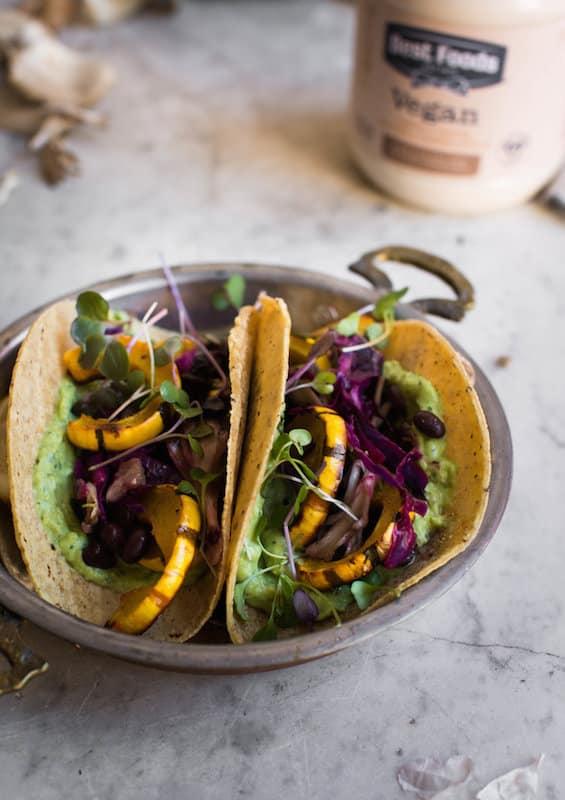 Fall Inspired Breakfast Tacos with Avocado Cream