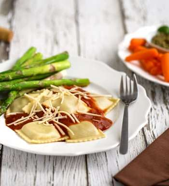 Romantic vegan ravioli dinner