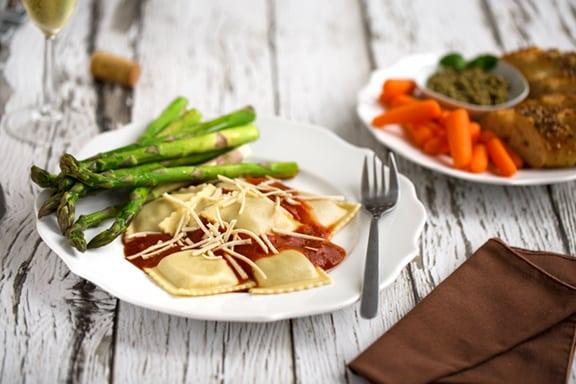 Romantic vegan ravioli dinner
