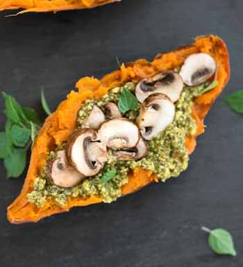 pesto & mushroom stuffed sweet potatoes