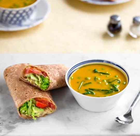 20-Minute Butternut Soup & Hummus Wraps Dinner