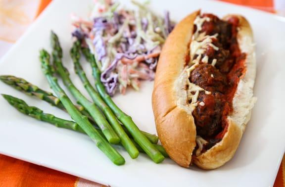 Vegan meatball sub dinner
