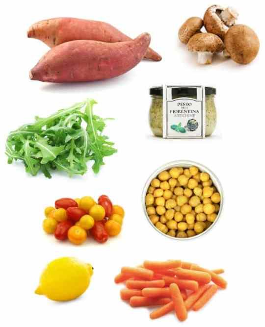 Stuffed sweet potato dinner ingredients
