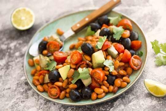 Pinto bean, avocado, and olive salad