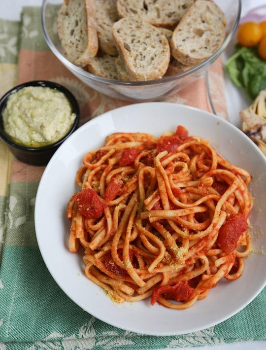 Vegan antipasto and pasta dinner'