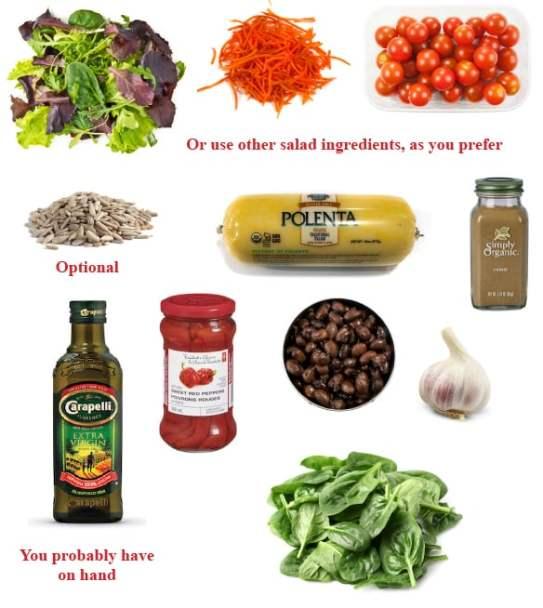 Polenta and black bean dinner ingredients