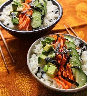 Cauliflower rice sushi bowl