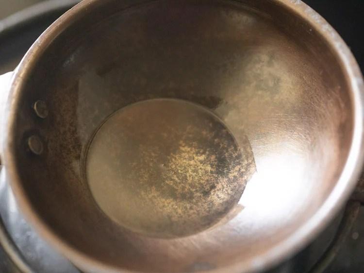 oil in a tadka pan