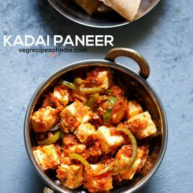 kadai paneer in a small kadai (Indian wok) on a light blue board with a bold text of
