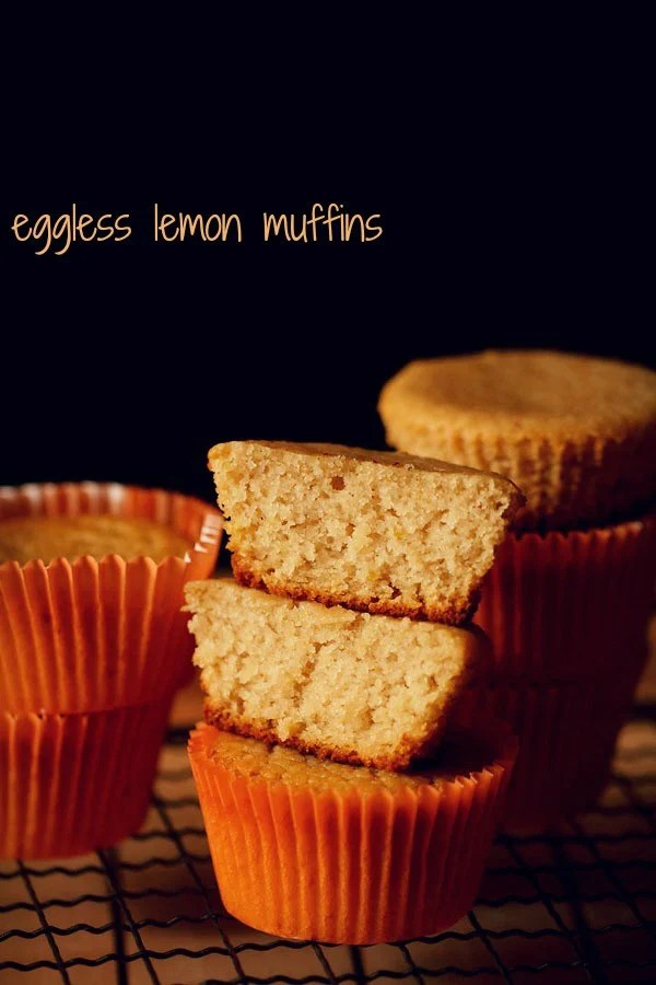 closeup shot of halved lemon muffins showing their fluffy and soft texture