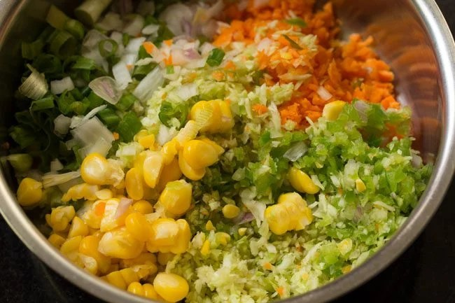 veggies in a bowl to make coleslaw sandwich