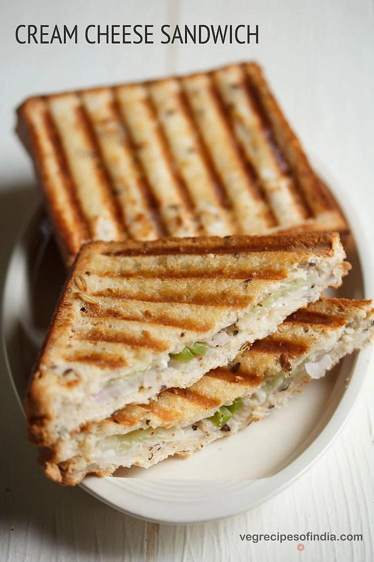Veg Grilled Cream Cheese Sandwich