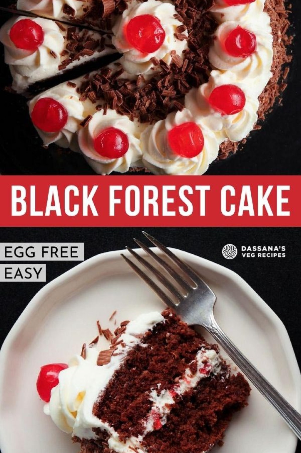 overhead shot of black forest cake on a black plate with a slice being removed