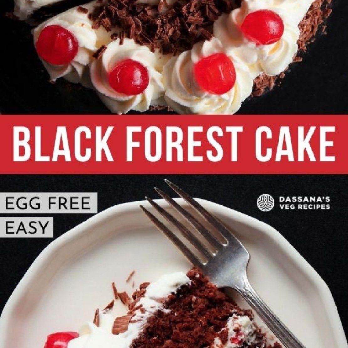 one slice of black forest cake on a white plate on a black background with a fork taking a bite
