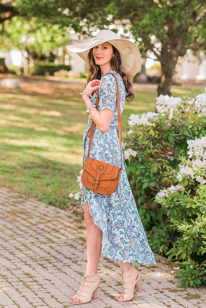 VeiledFree Blue Wrap Dress