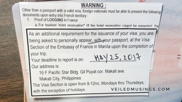 French Visa Application – Manila via VFS Global