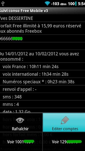 Suivi Conso Free Mobile - Screenshot 1