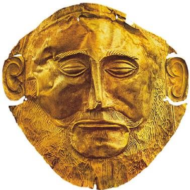 maschera d'oro detta di Agamennone dalle tombe reali di Micene, 1600 a.C., h 20,5 cm, Atene,