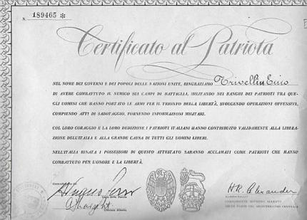 Certificato al patriota Ennio Trivellin