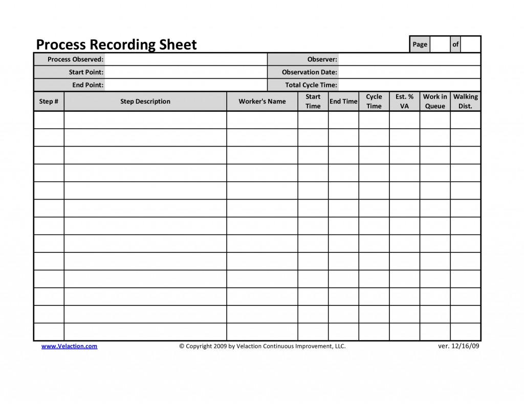 Office Process Recording Sheet