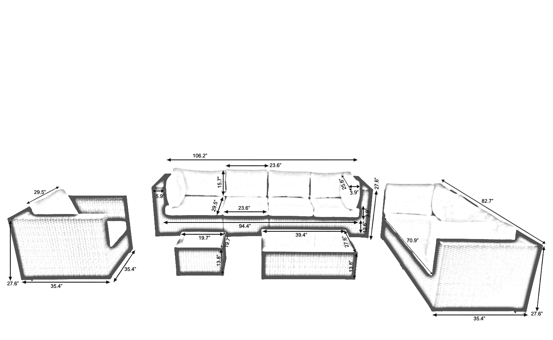 Black Wicker Outdoor Luxury Deep Seating Set